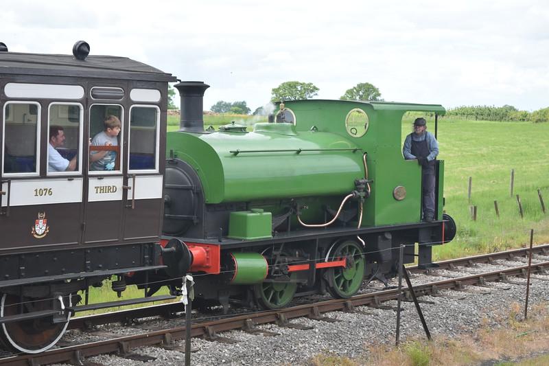 "Hudswell Clarke 0-4-0 saddle tank no. 1742 ""Millom"" taking part in the Buckinghamshire Railway Centre steam gala, 27.05.2019."