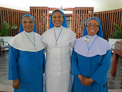 L-R: Sr. Olivia Agbakoba, Regional Superior, Reverend Mother Anastasia Dike , Sr. Mary Francis Amanfo, Chaplain, Infirmary