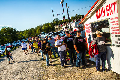 Fans in line to purchase tickets at Ponderosa Speedway