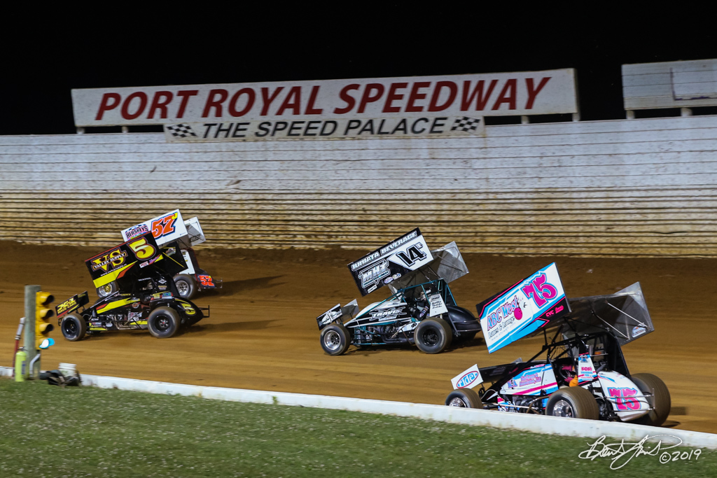 Greg Hodnett Classic- Pennsylvania Sprint Car Speedweek - Port Royal Speedway - 75 Nicole Bower, 14T Tyler Walton, 5 Dylan Cisney