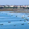 Boats anchored in the Faro estuary