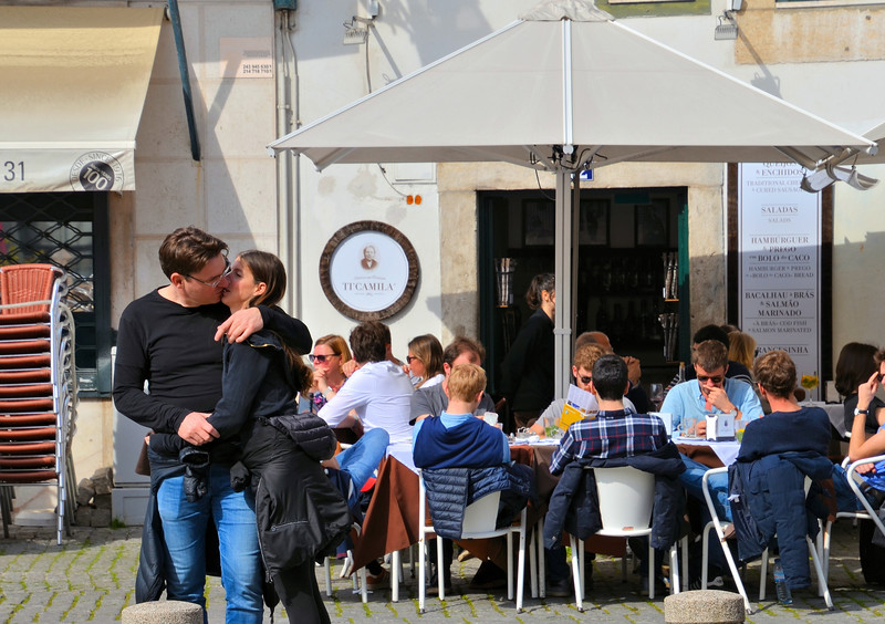 Lovers Near a Lisbon cafe