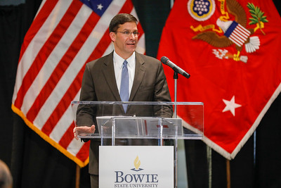 Secretary of the Army Mark Esper speaks at the spring commissioning ceremony for 10 ROTC cadets becoming 2nd Lieutenants in the Army, Thursday, May 16, 2019.