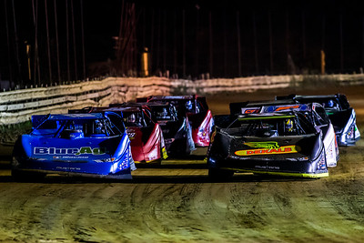 Don O'Neal (5) and Josh Richards (14) lead a heat race down the backstretch