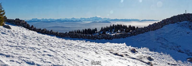 Côte 1632 - Panorama sur les Alpes et le Mont Blanc