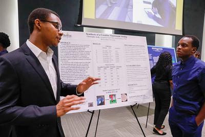 Students present their research projects during the Summer Undergraduate Research Institute (SURI) Research Symposium, Tuesday, July 30, 2019.