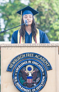 Newburgh Free Academy Salutatorian Sydney Reede speaks to her fellow graduates during the 154th Commencement Exercises for the graduating Class of 2019 on Academy Field in the City of Newburgh, NY on Tuesday, June 25, 2019. Hudson Valley Press/CHUCK STEWART, JR.