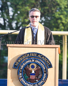 Newburgh Free Academy Main Campus Co-Principal Matteo Doddo offers the Welcome for the 154th Commencement Exercises for the graduating Class of 2019 on Academy Field in the City of Newburgh, NY on Tuesday, June 25, 2019. Hudson Valley Press/CHUCK STEWART, JR.