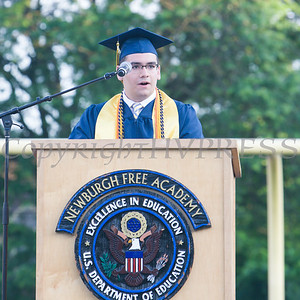 Newburgh Free Academy Co-Valedictorian Martin Peticco addresses his fellow graduates during the 154th Commencement Exercises for the graduating Class of 2019 on Academy Field in the City of Newburgh, NY on Tuesday, June 25, 2019. Hudson Valley Press/CHUCK STEWART, JR.