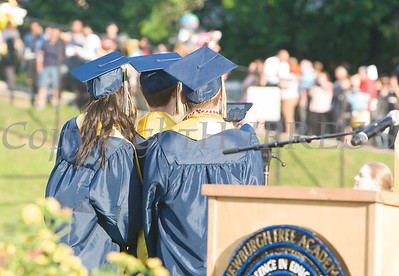 Newburgh Free Academy Co-Valedictorians Martin Peticco and Matthew Stridiron and Salutatorian Sydney Reede take a selfie during the 154th Commencement Exercises for the graduating Class of 2019 on Academy Field in the City of Newburgh, NY on Tuesday, June 25, 2019. Hudson Valley Press/CHUCK STEWART, JR.