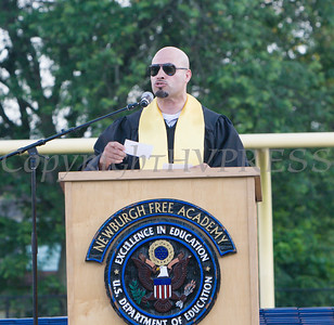 Newburgh Enlarged City School District Superintendent of Schools Dr. Roberto Padilla offers remarks to the Newburgh Free Academy graduating Class of 2019 on Academy Field in the City of Newburgh, NY on Tuesday, June 25, 2019. Hudson Valley Press/CHUCK STEWART, JR.
