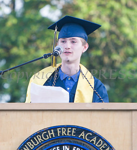 Newburgh Free Academy Co-Valedictorian Matthew Stridiron addresses his fellow graduates during the 154th Commencement Exercises for the graduating Class of 2019 on Academy Field in the City of Newburgh, NY on Tuesday, June 25, 2019. Hudson Valley Press/CHUCK STEWART, JR.