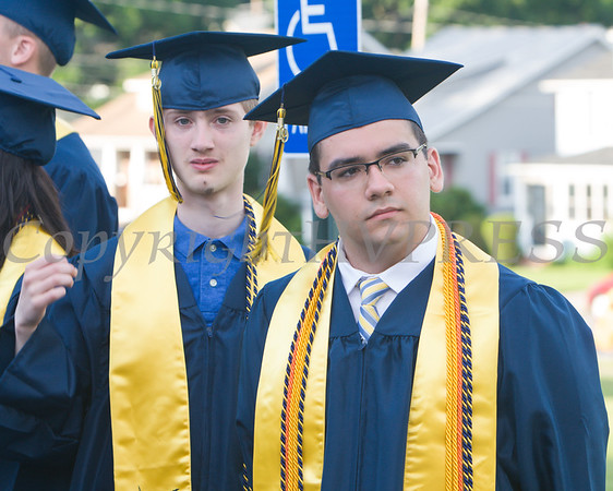 Newburgh Free Academy Co-Valedictorians Martin Peticco and Matthew Stridiron prepare to process for NFA's 154th Commencement Exercises for the graduating Class of 2019 on Academy Field in the City of Newburgh, NY on Tuesday, June 25, 2019. Hudson Valley Press/CHUCK STEWART, JR.