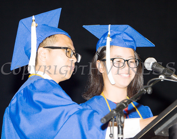 Poughkeepsie High School Valedictorian Minh Chau and Salutatorian Victoria Horner address their fellow classmates during the 147th Commencement Exercises for the graduating Class of 2019 on Friday, June 28, 2019 in Poughkeepsie, NY. Hudson Valley Press/CHUCK STEWART, JR.