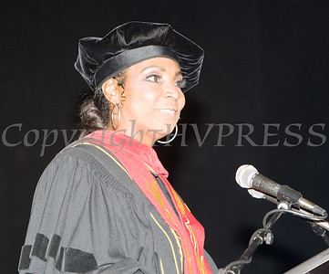 Dr. Felicia Watson, Board of Education President, offers welcoming remarks for the Poughkeepsie High School 147th Commencement Exercises for the graduating Class of 2019 on Friday, June 28, 2019 in Poughkeepsie, NY. Hudson Valley Press/CHUCK STEWART, JR.