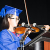 Salutatorian Victoria Horner plays the violin during her address at the Poughkeepsie High School 147th Commencement Exercises for the graduating Class of 2019 on Friday, June 28, 2019 in Poughkeepsie, NY. Hudson Valley Press/CHUCK STEWART, JR.