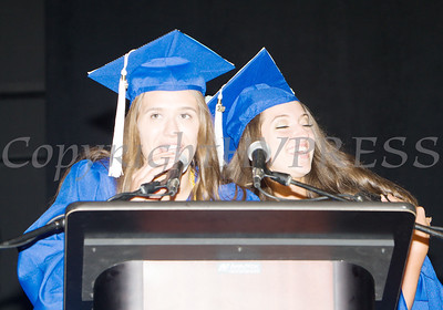 Poughkeepsie High School Senior Class Representatives offer a gift on behalf of the Class of 2019 during the 147th Commencement Exercises for the graduating Class of 2019 on Friday, June 28, 2019 in Poughkeepsie, NY. Hudson Valley Press/CHUCK STEWART, JR.