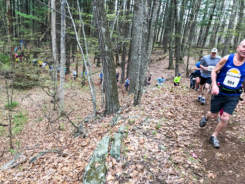 Runners take on the forest climb just before the first water crossing. (Photo by Robert Cummings)