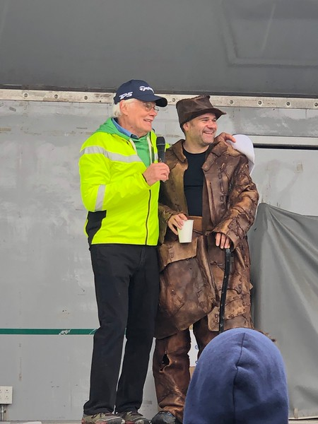 Tony Godino with Lee-Stuart Evans at the awards post-race. Lee was dressed up as the Old Leather Man on the trail during the 2019 Leatherman's Loop. (photo by Eugene Leeds)