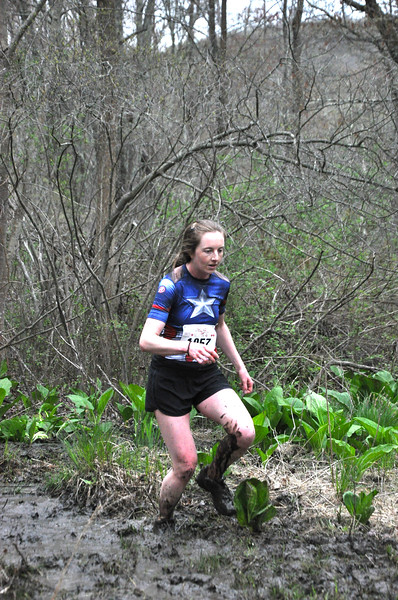 Top women's finisher Jacqueline Kehoe in the Mud Flats. (photo by Zoe Wegener)
