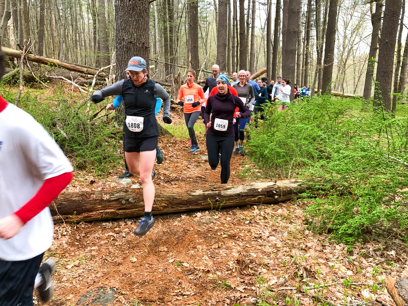 Runners on the Steeplechase section of the trail around mile 1. (Photo by Robert Cummings)