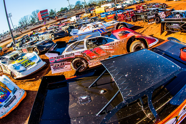 Dirt Late Models in the infield at Talladega Short Track