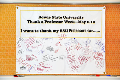 A banner signed by students to thank their professors hangs in the Center for Natural Sciences, Mathematics and Nursing, Tuesday, May 7, 2019.