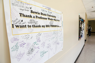 A banner signed by students to thank their professors hangs in the Proctor Building, Tuesday, May 7, 2019.
