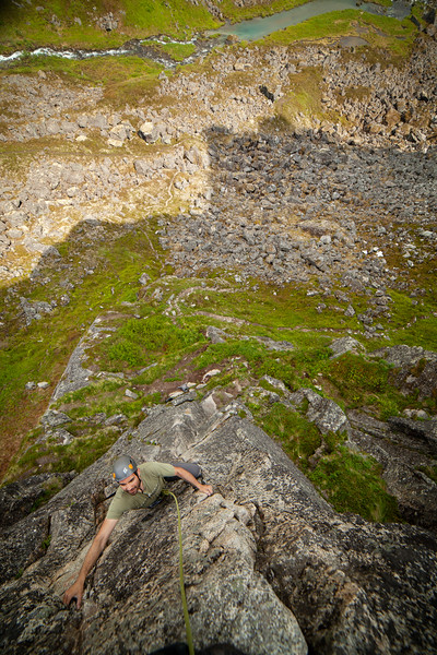 """Looking down on Sam as he moves up """"Physical Attraction"""" 5.8 on the Zulu Wall."""