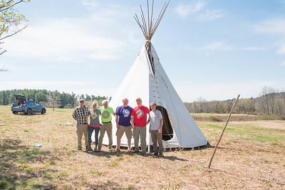 Meadow Teepee set up for the 2019 Leatherman's Loop. Pictured: Jeff Main, Judy Godino, Tony Godino, Mike Surdej, Rob Cummings, Bill Bradsell.