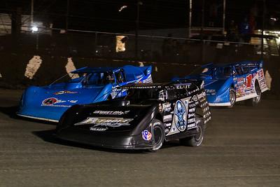 Scott Bloomquist (0), Dennis Erb, Jr. (28) and Brandon Sheppard (1)
