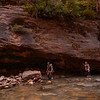 Peter and Lydia work their way upstream in Zion's Narrows.