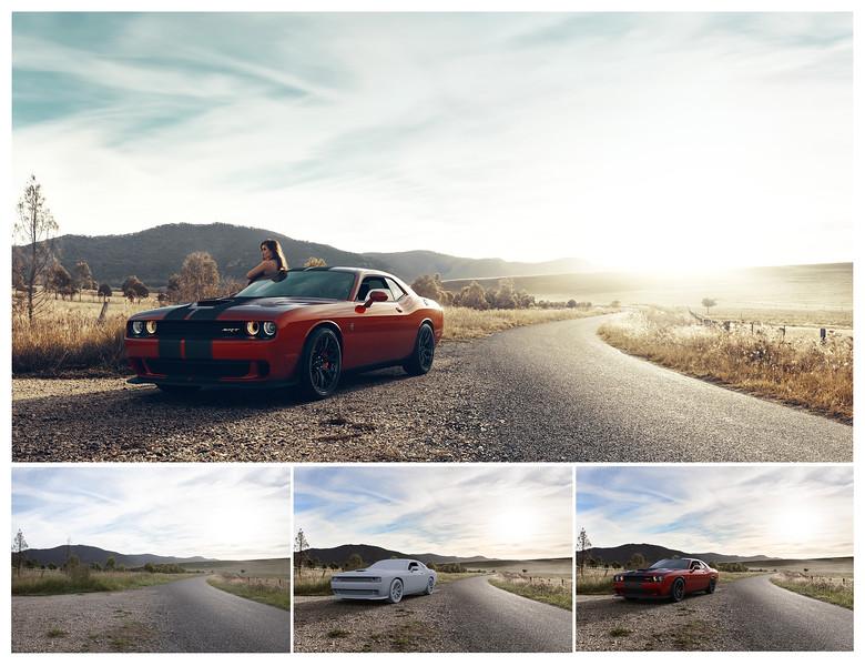Dodge Hellcat 100% CGI<br /> Photographed backplate