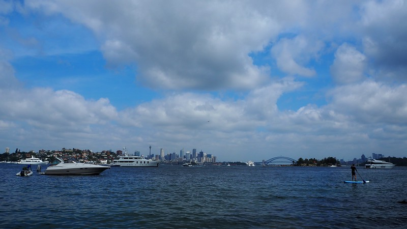Sydney Harbour with the Opera House and Bridge in the distance