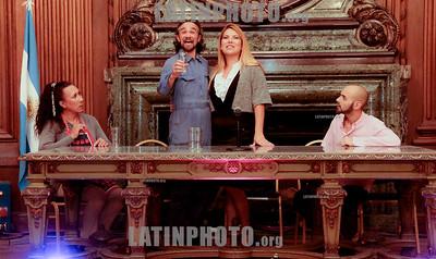 Argentina : Fragmento de MADE IN LANUS , Una de sus obras en gira en este momento en la Argentina , tal vez esta escena resume la Obra - Cooperativa Arte TV Trans en la Legislatura de la Ciudad de Buenos Aires recibiendo el premio a la Trayectoria , el 17/07/2019 Día Internacional contra la Homofobia , Lesbofobia, Transfobia . En el año del 50º Aniversario de los disturbios de STONEWALL , festejamos este día con una muestra de su trabajo en donde TODES son Bienvenides , Se hizo un fragmento de MADE IN LANUS , una de sus obras en gira y cerro con el desfiles de Inevitable Vanidad de Emma Serna / award ceremony Trayectoria on the International Day Against Homophobia , Transphobia and Biphobia / Argentinien : Preisverleihung Trayectoria am Internationaler Tag gegen Homophobie , Transphobie und Biphobie 2019 © Santiago Debenedetti/LATINPHOTO.org