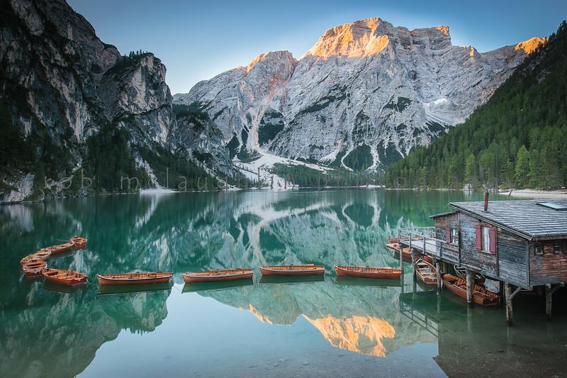Boathouse Reflection , Lago Di Braies , Bolzano