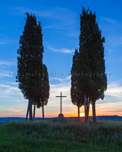 Cross At Sunrise , San Quirico d'Orcia , Tuscany