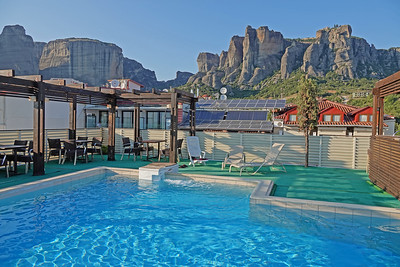 Meteora mountains from the hotel pool