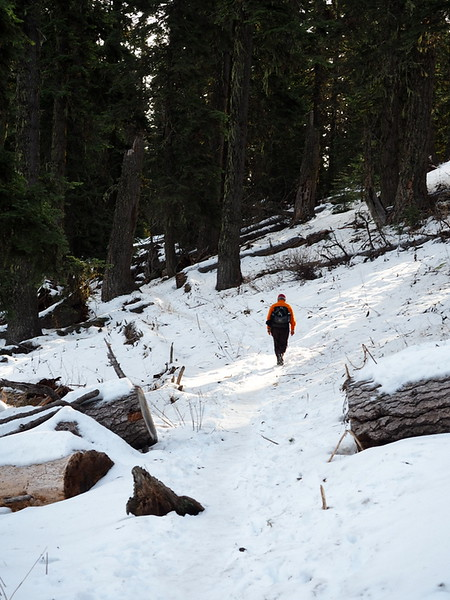 Hiking up the snow-covered Grizzly Peak Trail in Oregon