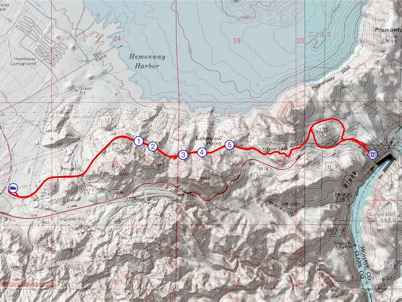 Map of the Historic Railroad Trail, Lake Mead National Recreation Area, Nevada