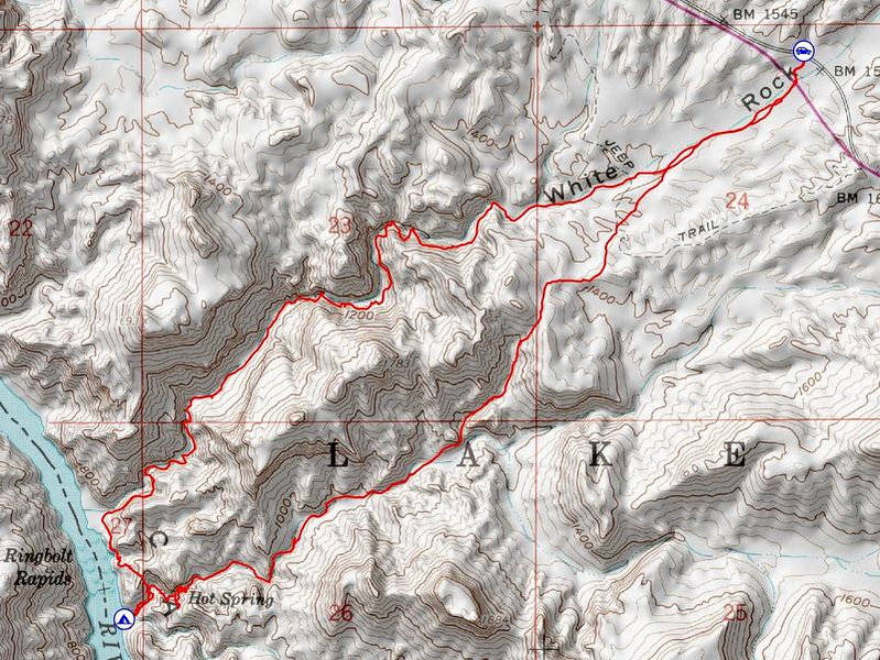 Map of the route to Arizona Hot Spring