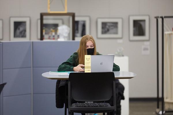 2020 UWL Student Studying Murphy Library 0048