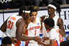 Florida Gators forward Anthony Duruji (4) and the Gators huddle together as the Florida Gators mens basketball team hosted the South Carolina Gamecocks at Exacteh Arena in Gainesville, Florida.  February 3rd, 2021. Gator Country Photo by David Bowie.