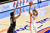 Florida Gators guard Noah Locke (10) drains a three point shot as the Florida Gators mens basketball team hosted the South Carolina Gamecocks at Exacteh Arena in Gainesville, Florida.  February 3rd, 2021. Gator Country Photo by David Bowie.