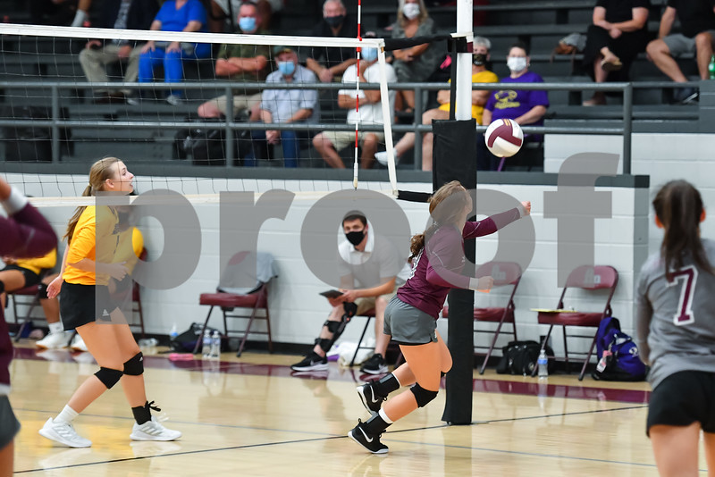 Mayflower vs Perryville . The volleyball game was played at the Perryville Mustangs high school gym
