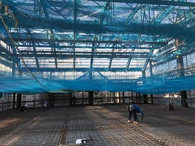 Constructing the floor of the auditorium