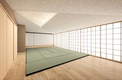 Working rendering of the Japanese-style multipurpose space.