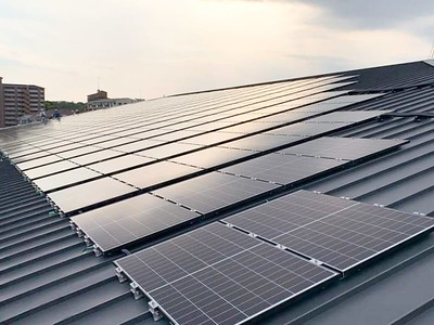 Two-hundred and eighty-six solar panels are installed on the south side of the roof of the South Building which contains the 25-meter swimming pool, double gym and Early Learning Center.