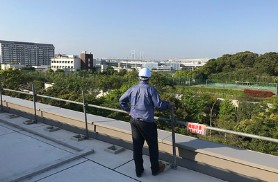 Enjoying the view towards the Bay Bridge from the Japanese garden.
