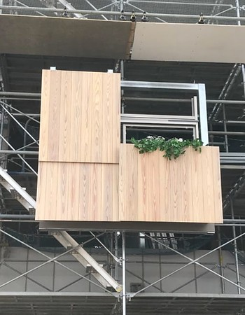 Mock-up of cedar wall panels to be installed on three of the building facades.